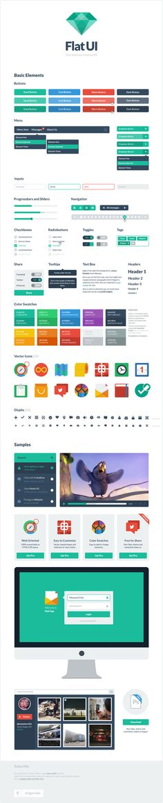 Flat UI Free – PSD User Interface Kit    Source: http://designmodo.com/flat-free/#ixzz2OFvNu700