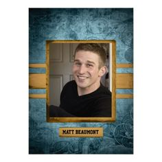 This cool grunge graduation announcement is a great special look for your teen. The background is blue with a grunge look. There are three g...