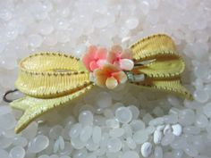 hair barrette soft  yellow bow with sweet posies by rosebudcottage