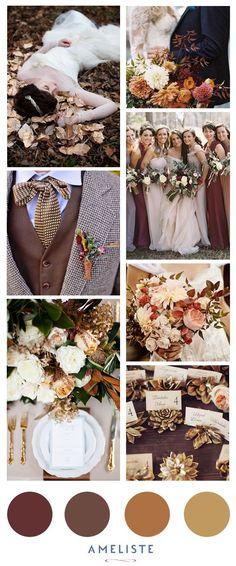 Wedding Mood Board // Wedding Inspiration BoradFall Colors // Brown, Gold, Magenta // The colors of the season #moodboard #inspirationboard