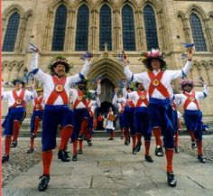 The North West Morris from north Cheshire and Lancashire is danced by at least nine men and as a processional so that the dancers dance along the road performing set figures accompanied by stepping - as a 'rant' step.