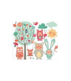 Vinilo infantil Animales bebes del bosque - venta online