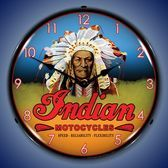 Vintage Indian Motocycle Chief Lighted Wall Clock