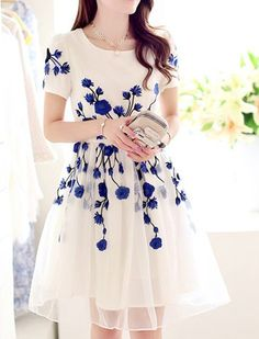 Elegant Jewel Neck Short Sleeve Embroidered Organza Dress For WomenCasual Dresses | RoseGal.com