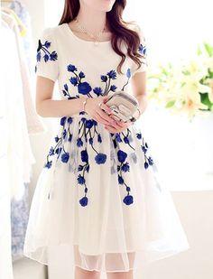 Elegant Jewel Neck Short Sleeve Embroidered Organza Dress For WomenCasual Dresses   RoseGal.com