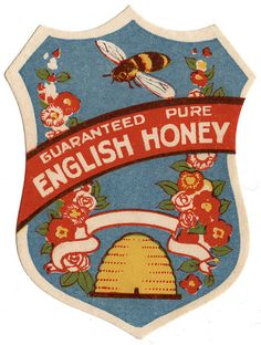 """Vintage English Honey Label. Hive beekeeping was introduced in the east of England from continental Europe and transmitted through Britain from East to West.""""  There is no definitive date for when the introduction occurred but it is believed to be prior to Roman occupation."""
