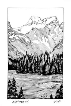 16 September - A Drawing A Day Challenge of 20155 on Behance Ink Pen Art, Ink Pen Drawings, Landscape Sketch, Landscape Drawings, Ink Illustrations, Illustration Art, Zantangle Art, Drawing Artist, Art Plastique