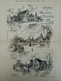 Sketches in Willesden Cemetery in Willesden, England, 1890. J. Martin Brooks