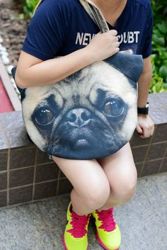 Pug Pug bag dog lover tote dog portrait bag dog by BENWINEWIN, $37.90