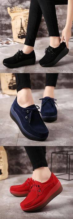 US$29.99  Lace Up Rocker Sole Suede Casual Shoes #laceupshoes #womenshoes #wintershoes