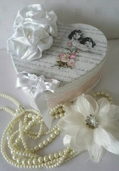 Pink Simply Chic Jewellery Box-Shabby White Decoupage Paper Mache-Shabby Chic Decor-Heart Box Gift Box