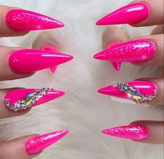 Barbie Pink Bling Stiletto Nails by MargaritasNailz from Nail Art Gallery