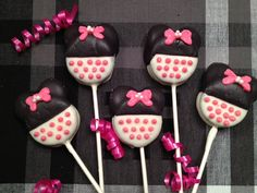 Minnie Mouse Chocolate Covered Double Stuffed Oreo Pops(1 dozen) - Minnie Mouse, Birthday, Baby Shoer on Etsy, $21.00
