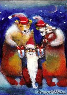 Funny Art, Christmas Greetings, Gnomes, Cute Pictures, Xmas, Photo And Video, Illustration, Artist, Postcards