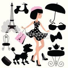 Arte vectorial : Girl in Paris vector illustration