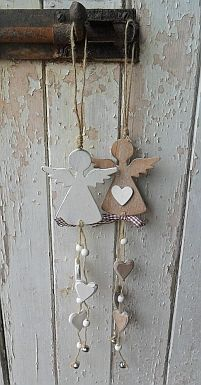 Hanging angel with hearts & bell - Hearts and Hens - Country Christmas.possible salt dough ornaments? Christmas Angels, All Things Christmas, Christmas Time, Christmas Ornaments, Country Christmas, Crochet Christmas, Christmas Bells, Angel Crafts, Christmas Projects