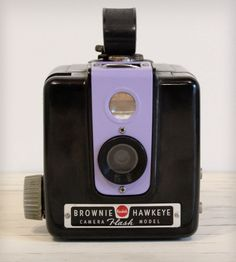 Vintage Brownie Hawkeye Kodak Camera with Flash - Purple | This custom vintage camera is a 1950s Brownie Hawkeye by Kodak... | Cameras