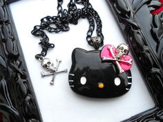 Hello Kitty Skull Necklace  Black and Pink by LEBEAUTYEXORCIST