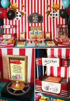 A Hollywood Movie Party // Hostess with the Mostess® Movie Theater Party, Cinema Party, Movie Night Party, Party Time, Movie Nights, Movie Party Foods, Movie Themed Parties, Festa Pin Up, Kino Party