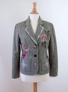 Sweet Rose REFASHIONED Ladies Tweed Jacket Size Large by PetCloud, $142.00