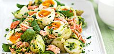 The fresh, zesty herb dressing gives this simple potato salad a kick. Adding the salmon flakes and boiled eggs turns it into a hearty summer meal or great pot luck salad.