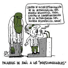 #Cuba: Palabras de #RaúlCastro a los 'Indescongelables'  Viñeta de #humor de #AlenLauzán
