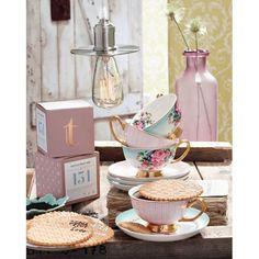 Teetassen-Set, 8-tlg., geblümt, Porzellan Katalogbild