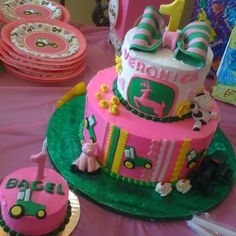 Girly John Deere cake I made for a first birthday!