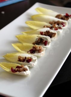 Belgian endive with goat cheese, craisins and spiced walnuts - an easy and elegant holiday appetizer!