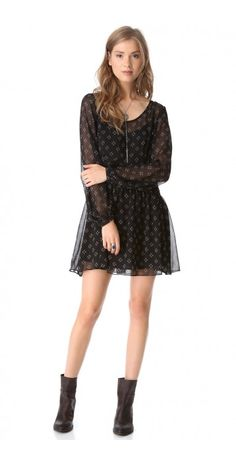 BABY DEE DRESS $137.56 SPECIAL $44.80 YOU SAVE: 67% A fit-and-flare Free People mini dress reveals bohemian spirit with buttoned blouson sleeves, and the pintucked skirt lends graceful dimension. Slip dress lining. Sheer.