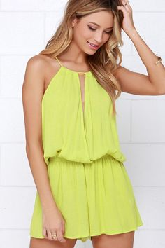 Show Me the Anemone Chartreuse Romper at Lulus.com!