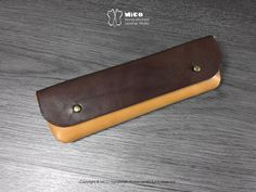 MICO Leather Pencil bag Dark brown on Light by MicoHandicraft