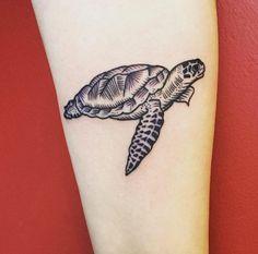 Beautiful blackwork sea turtle by Erica Kraner
