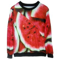 Watermelon Print Sweatshirt ($23) ❤ liked on Polyvore featuring tops, hoodies, sweatshirts, red, sweat shirts, red sweat shirt, red sweatshirt, sweatshirts hoodies and sweat tops