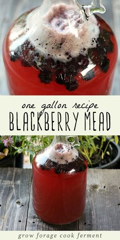 This blackberry mead is a great recipe to make when blackberries are in season! Mead or honey wine is an easy fermented drink you can make at home. - Wine - Ideas of Wine Homemade Wine Recipes, Homemade Alcohol, Homemade Liquor, How To Make Mead, Food To Make, Mead Wine, Mead Beer, Blackberry Wine, Sweet Like Candy