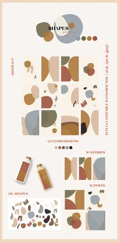 Very dynamic and intriguing use of shapes and colour. Love the earthy colour palette with the low-saturated colours. The composition of different organic shapes gives me inspiration for my own capsule package design in the use of my sectional shapes. Abstract Shapes, Abstract Wall Art, Abstract Print, Graphic Illustration, Illustrations, Forest Illustration, Project Abstract, Web Design, Shape Design