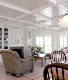 Image detail for -Nantucket South creates distinct home interiors through . Beadboard, Beadboard Ceiling, Interior Design Nantucket, Home, Ceiling Decor, Coffered Ceiling, House Flooring, House Interior, Interior Design