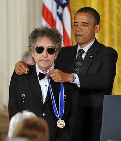 "Bob Dylan received the Presidential Medal of Freedom, the country's highest civilian honor. At the ceremony, President Obama said of Dylan, ""There is not a bigger giant in the history of American music. Bob Dylan, Vanessa Morgan, Like A Rolling Stone, Rolling Stones, Christina Milian, Russell Wilson, Barack Obama, Rihanna, Billy The Kid"