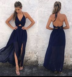 Simple v neck blue chiffon long prom dress. Blue evening dress for teens, backless women fashion dress