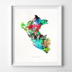 Peru Watercolor Map Wall Art Print - Prices from $9.95. Click Photo for Details - #giftideas #watercolor #map #christmasgifts #wallart #Peru