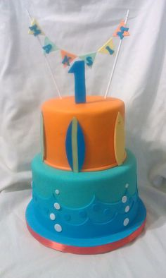 1st birthday surf cake   Mick's Sweets Flickr - Photo Sharing!
