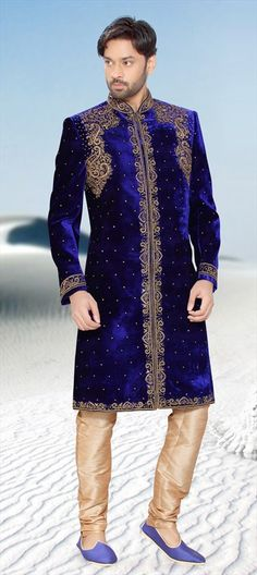500624, Sherwani, Velvet, Bugle Beads, Machine Embroidery, Sequence, Blue Color Family