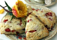 Strawberry Scones: I've made these...they are *very* good, almost cake like instead of the typical hard scones.  Very easy to make, beautiful presentation #strawberry #scones