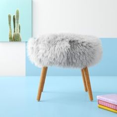 Hashtag Home Hovland Tabouret Fausse Fourrure Vanity Stool Seat Couleur: Turquoise