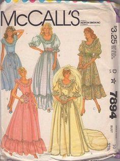 MOMSPatterns Vintage Sewing Patterns - McCall's 7894 Vintage 80's Sewing Pattern BOUFFANT Scoop Neck Garden Party Dress, Southern Belle Wedding Gown with Train, Princess Diana Look, Ruffle Flounce Size 10