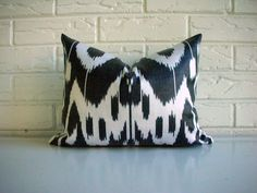 Decorative Pillow Cover Ikat Lumbar Throw by habitationBoheme