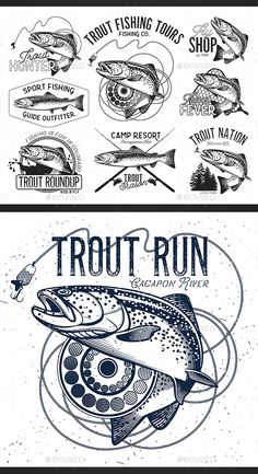 Trout Fishing Emblems, Labels Vector EPS. Download here: https://graphicriver.net/item/trout-fishing/14871128?ref=ksioks