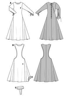 Make a medieval era costume dress for a damsel. View A features side godets, long sleeves and lacing in the back. The overdress View B has a low neckline. Includes a period cap to complete the look. A Burda Style sewing pattern. Moda Medieval, Historical Costume, Historical Clothing, Historical Photos, Costume Patterns, Dress Patterns, Medieval Dress Pattern, Viking Dress, Medieval Costume
