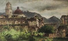 """Townley Benson (1848-1907), """"Mexican Cathedral"""", Oil on cardboard"""