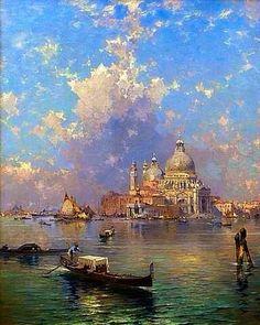 Franz Richard Unterberger - Venice Gondolas in front of Santa Maria della Salute #OilPaintingItaly
